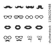 vector image set of mustache ... | Shutterstock .eps vector #1186232488