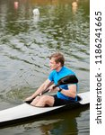 young sportsman kayaking on... | Shutterstock . vector #1186241665