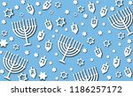 hanukkah blue background with... | Shutterstock .eps vector #1186257172