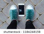 smartphone with a broken... | Shutterstock . vector #1186268158