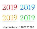 2019 made in abstract polygon... | Shutterstock .eps vector #1186279702