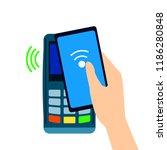 pos terminal confirms the... | Shutterstock .eps vector #1186280848