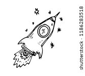 hand drawn rocket doodle icon.... | Shutterstock .eps vector #1186283518