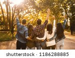 friends having fun throwing... | Shutterstock . vector #1186288885