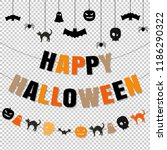 happy halloween set transparent ... | Shutterstock .eps vector #1186290322