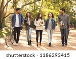 group of students walking... | Shutterstock . vector #1186293415