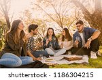 friends in the park making a... | Shutterstock . vector #1186304215
