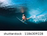 professional surfer woman with... | Shutterstock . vector #1186309228