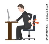 man suffering from back pain...   Shutterstock .eps vector #1186315135