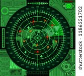 abstract radar screen with... | Shutterstock .eps vector #1186321702