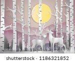 reindeer in forest landscape at ... | Shutterstock .eps vector #1186321852