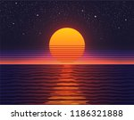 retro 80s illustration. sunset... | Shutterstock .eps vector #1186321888