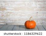Pumpkin On Wooden Wall...