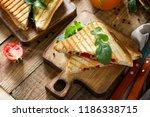 concept of breakfast. fruit... | Shutterstock . vector #1186338715