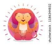 vector funny cute lion sitting... | Shutterstock .eps vector #1186344832
