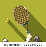 tennis feet and hand with... | Shutterstock .eps vector #1186347232