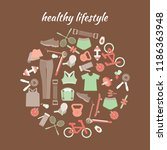 healthy lifestyle background.... | Shutterstock .eps vector #1186363948