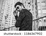 stylish man in black glasses on ...   Shutterstock . vector #1186367902