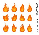 fire flames vector set isolated ... | Shutterstock .eps vector #1186375405