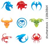 Glossy Logos Of 9 Different...