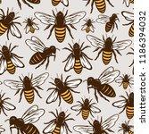 vector honey bee seamless... | Shutterstock .eps vector #1186394032