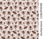 retro styled honey bee seamless ...   Shutterstock .eps vector #1186394038
