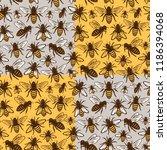 vector honey bee seamless...   Shutterstock .eps vector #1186394068