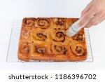 freshly baked chelsea buns...   Shutterstock . vector #1186396702