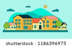 city downtown or village with... | Shutterstock .eps vector #1186396975