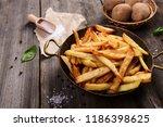homemade potato french fries | Shutterstock . vector #1186398625