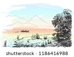 sketch of lake scenery with...   Shutterstock .eps vector #1186416988