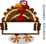 Happy Turkey Cartoon With Blan...