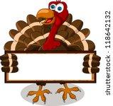 Happy Turkey Cartoon With Blan...