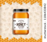 wildflower honey glass jar... | Shutterstock .eps vector #1186433842