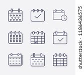 outline 9 week icon set.... | Shutterstock .eps vector #1186436575