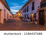 evening moody view of a cobbled ...   Shutterstock . vector #1186437688