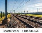 seeminly endless train tracks...   Shutterstock . vector #1186438768