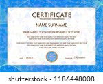 certificate template  blue... | Shutterstock .eps vector #1186448008