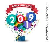 happy new year 2019 celebration ... | Shutterstock .eps vector #1186449418