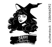 halloween postcard with witch... | Shutterstock .eps vector #1186466092