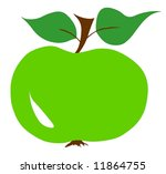 Green apple twig leaf leaves illustration fresh - stock photo