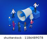 isometric megaphone and people. ... | Shutterstock .eps vector #1186489078