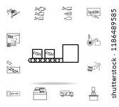 fish boxes on conveyor belt... | Shutterstock .eps vector #1186489585