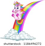 cartoon unicorn sliding on a... | Shutterstock .eps vector #1186496272