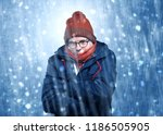 handsome young boy shivering... | Shutterstock . vector #1186505905