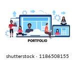 businesspeople using gadgets...   Shutterstock .eps vector #1186508155