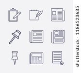 outline 9 sheet icon set.... | Shutterstock .eps vector #1186523635