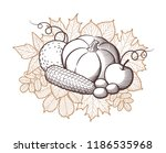 composition of stylized fruits... | Shutterstock .eps vector #1186535968