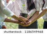 Small photo of Group of People Hands Holding Cupping Plant Growth Nurture Environmental in park.CSR Corporate social responsibility concept