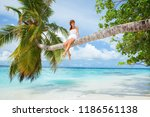fashion woman siting upon palm... | Shutterstock . vector #1186561138